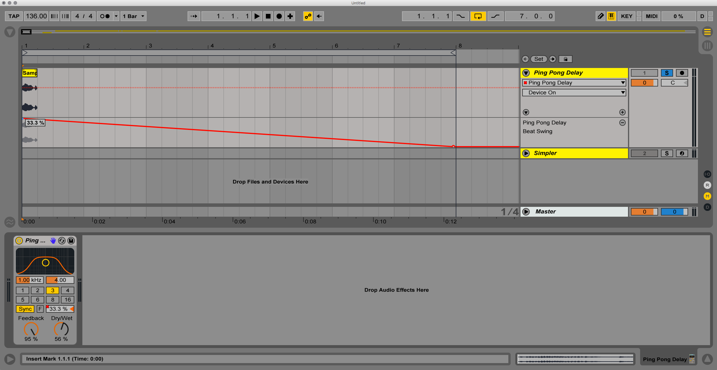 Creating a pitch rising effect in Ableton