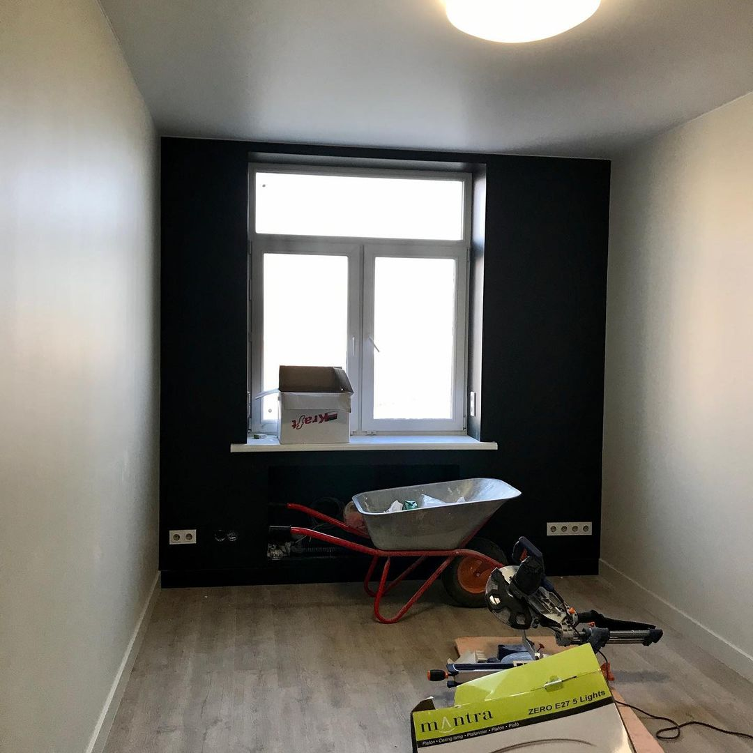 August. Installed finishing flooring materials (LVT), painted the walls, finished electric, hung a suspended ceiling, installed light fixtures